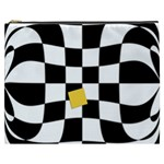 Dropout Yellow Black And White Distorted Check Cosmetic Bag (XXXL)  Front