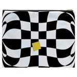 Dropout Yellow Black And White Distorted Check Cosmetic Bag (XXXL)  Back