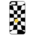Dropout Yellow Black And White Distorted Check Apple iPhone 5 Seamless Case (Black) Front