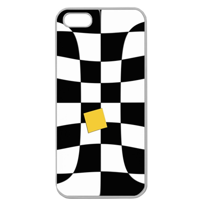 Dropout Yellow Black And White Distorted Check Apple Seamless iPhone 5 Case (Clear)
