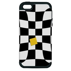 Dropout Yellow Black And White Distorted Check Apple Iphone 5 Hardshell Case (pc+silicone)