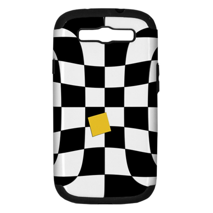 Dropout Yellow Black And White Distorted Check Samsung Galaxy S III Hardshell Case (PC+Silicone)