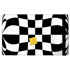Dropout Yellow Black And White Distorted Check Apple iPad 2 Flip Case