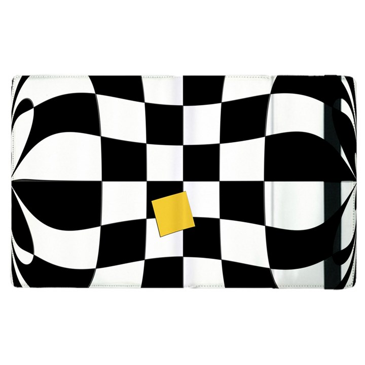 Dropout Yellow Black And White Distorted Check Apple iPad 3/4 Flip Case