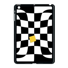 Dropout Yellow Black And White Distorted Check Apple iPad Mini Case (Black)