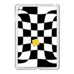 Dropout Yellow Black And White Distorted Check Apple iPad Mini Case (White) Front