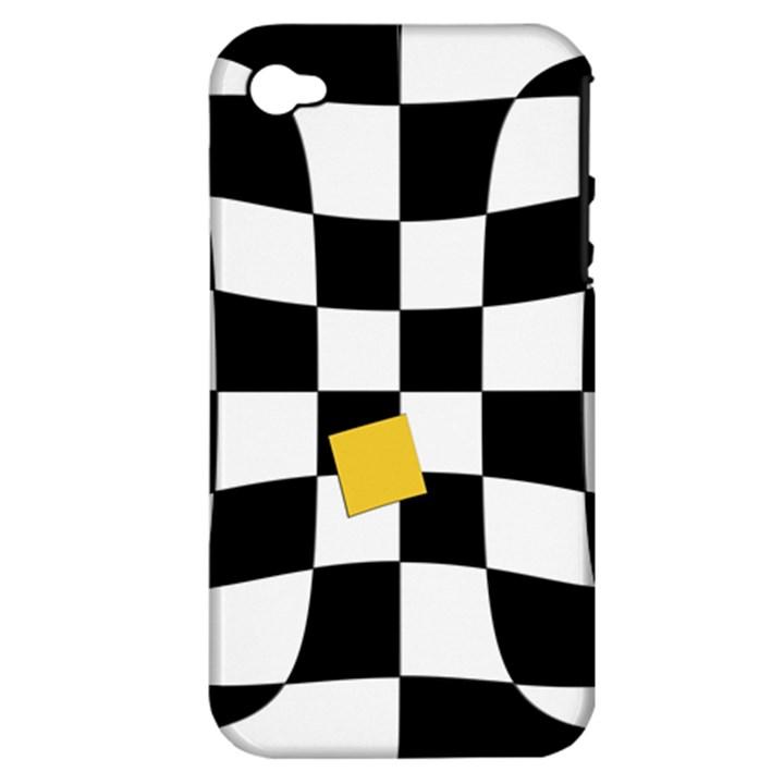 Dropout Yellow Black And White Distorted Check Apple iPhone 4/4S Hardshell Case (PC+Silicone)
