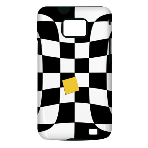 Dropout Yellow Black And White Distorted Check Samsung Galaxy S II i9100 Hardshell Case (PC+Silicone)