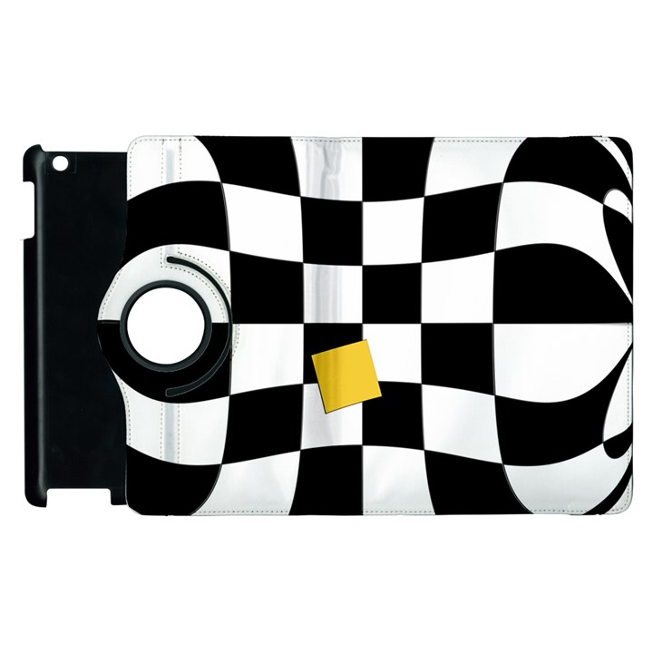 Dropout Yellow Black And White Distorted Check Apple iPad 2 Flip 360 Case