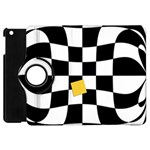 Dropout Yellow Black And White Distorted Check Apple iPad Mini Flip 360 Case Front
