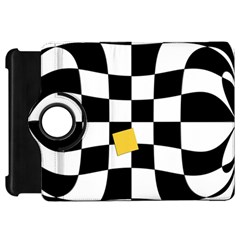 Dropout Yellow Black And White Distorted Check Kindle Fire HD Flip 360 Case