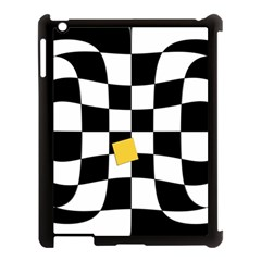 Dropout Yellow Black And White Distorted Check Apple iPad 3/4 Case (Black)