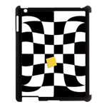 Dropout Yellow Black And White Distorted Check Apple iPad 3/4 Case (Black) Front