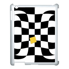 Dropout Yellow Black And White Distorted Check Apple Ipad 3/4 Case (white)
