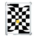Dropout Yellow Black And White Distorted Check Apple iPad 3/4 Case (White) Front