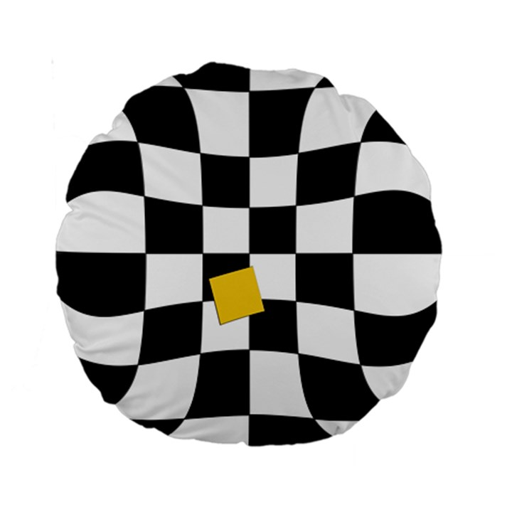 Dropout Yellow Black And White Distorted Check Standard 15  Premium Round Cushions