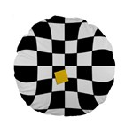 Dropout Yellow Black And White Distorted Check Standard 15  Premium Round Cushions Back