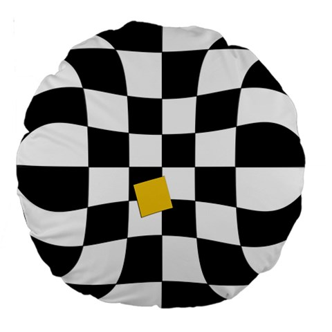 Dropout Yellow Black And White Distorted Check Large 18  Premium Round Cushions
