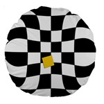 Dropout Yellow Black And White Distorted Check Large 18  Premium Round Cushions Back