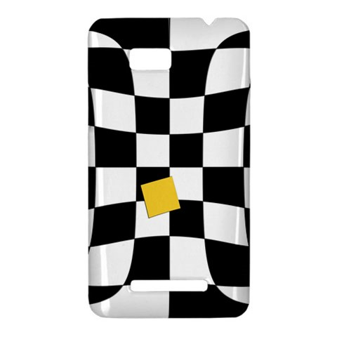 Dropout Yellow Black And White Distorted Check HTC One SU T528W Hardshell Case