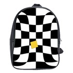 Dropout Yellow Black And White Distorted Check School Bags (XL)  Front