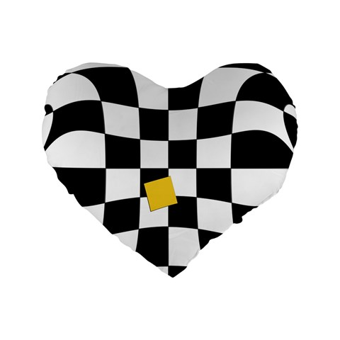 Dropout Yellow Black And White Distorted Check Standard 16  Premium Heart Shape Cushions