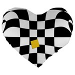 Dropout Yellow Black And White Distorted Check Large 19  Premium Heart Shape Cushions Front