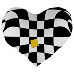 Dropout Yellow Black And White Distorted Check Large 19  Premium Heart Shape Cushions Back
