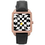 Dropout Yellow Black And White Distorted Check Rose Gold Leather Watch  Front