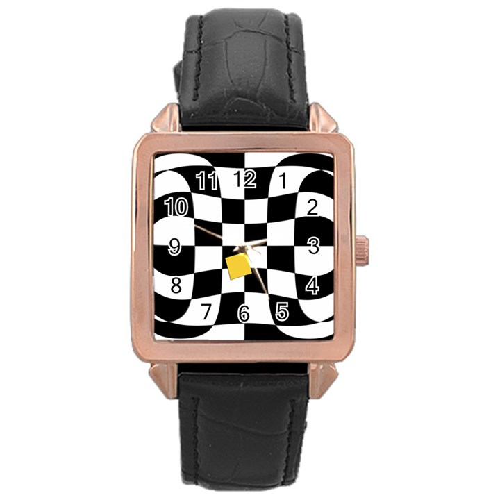 Dropout Yellow Black And White Distorted Check Rose Gold Leather Watch