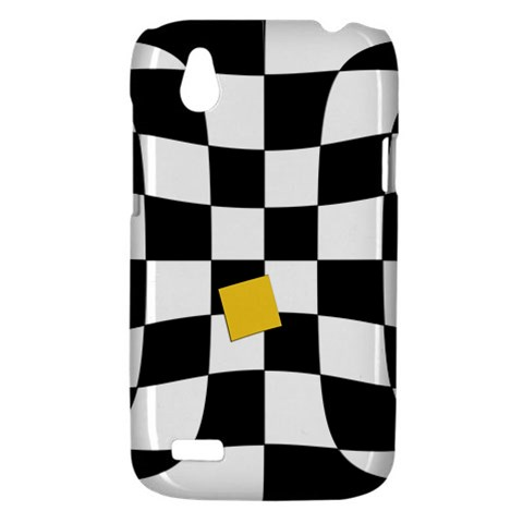 Dropout Yellow Black And White Distorted Check HTC Desire V (T328W) Hardshell Case
