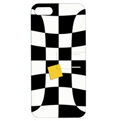 Dropout Yellow Black And White Distorted Check Apple Iphone 5 Hardshell Case With Stand