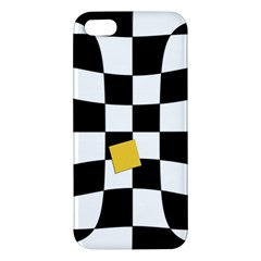 Dropout Yellow Black And White Distorted Check Apple Iphone 5 Premium Hardshell Case