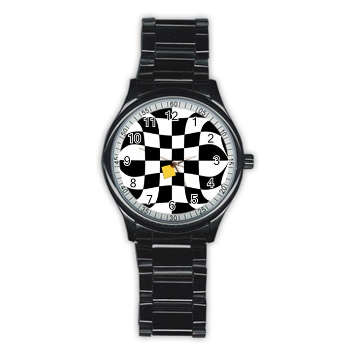 Dropout Yellow Black And White Distorted Check Stainless Steel Round Watch