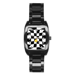Dropout Yellow Black And White Distorted Check Stainless Steel Barrel Watch