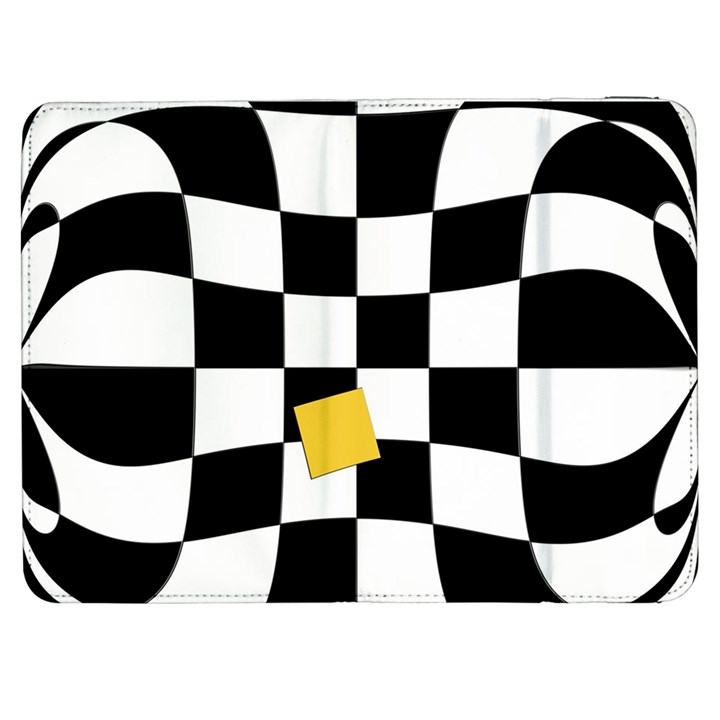 Dropout Yellow Black And White Distorted Check Samsung Galaxy Tab 7  P1000 Flip Case