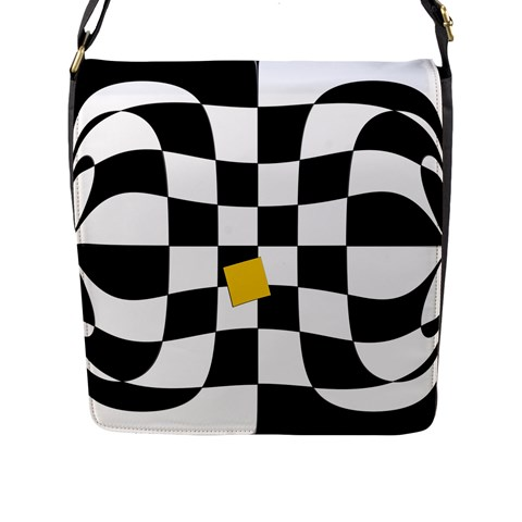 Dropout Yellow Black And White Distorted Check Flap Messenger Bag (L)