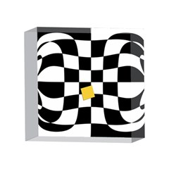 Dropout Yellow Black And White Distorted Check 4 x 4  Acrylic Photo Blocks