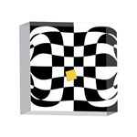 Dropout Yellow Black And White Distorted Check 4 x 4  Acrylic Photo Blocks Front