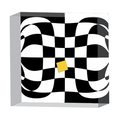 Dropout Yellow Black And White Distorted Check 5  x 5  Acrylic Photo Blocks