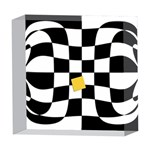 Dropout Yellow Black And White Distorted Check 5  x 5  Acrylic Photo Blocks Front