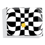 Dropout Yellow Black And White Distorted Check 5 x 7  Acrylic Photo Blocks Front