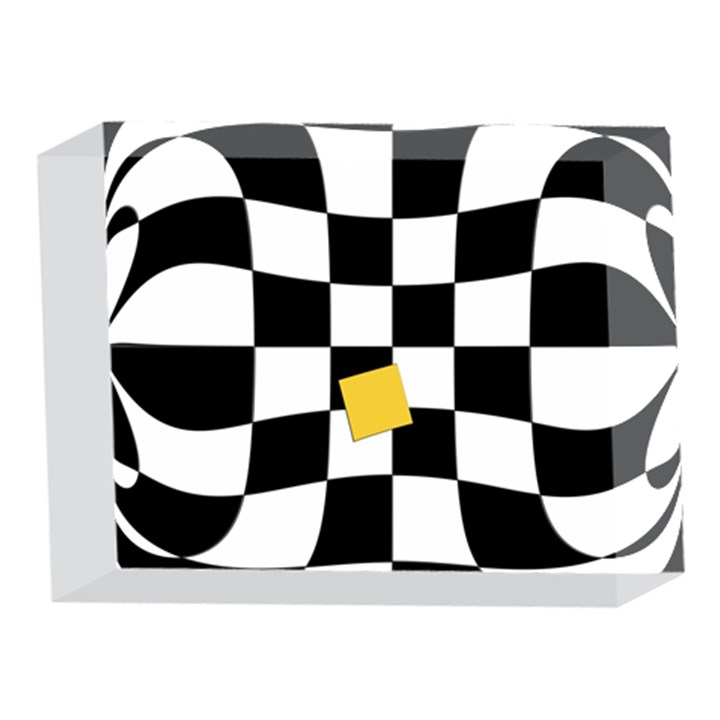 Dropout Yellow Black And White Distorted Check 5 x 7  Acrylic Photo Blocks