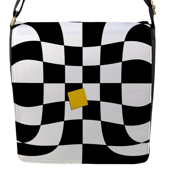 Dropout Yellow Black And White Distorted Check Flap Messenger Bag (S)