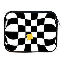 Dropout Yellow Black And White Distorted Check Apple iPad 2/3/4 Zipper Cases