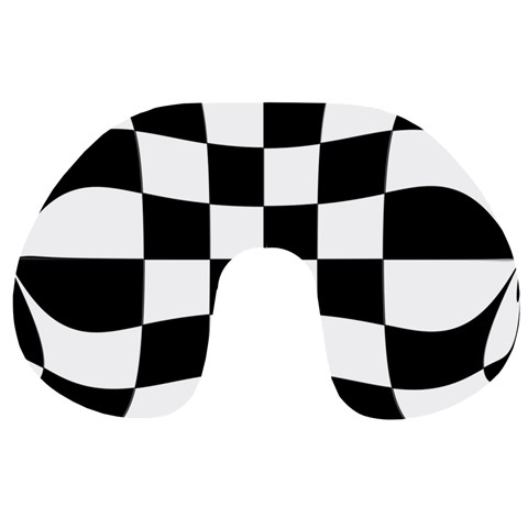 Dropout Yellow Black And White Distorted Check Travel Neck Pillows