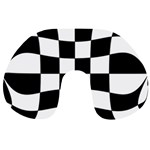 Dropout Yellow Black And White Distorted Check Travel Neck Pillows Back