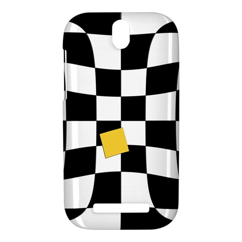 Dropout Yellow Black And White Distorted Check HTC One SV Hardshell Case