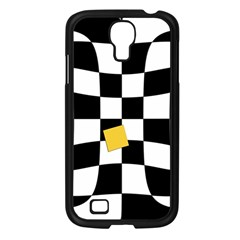 Dropout Yellow Black And White Distorted Check Samsung Galaxy S4 I9500/ I9505 Case (Black)