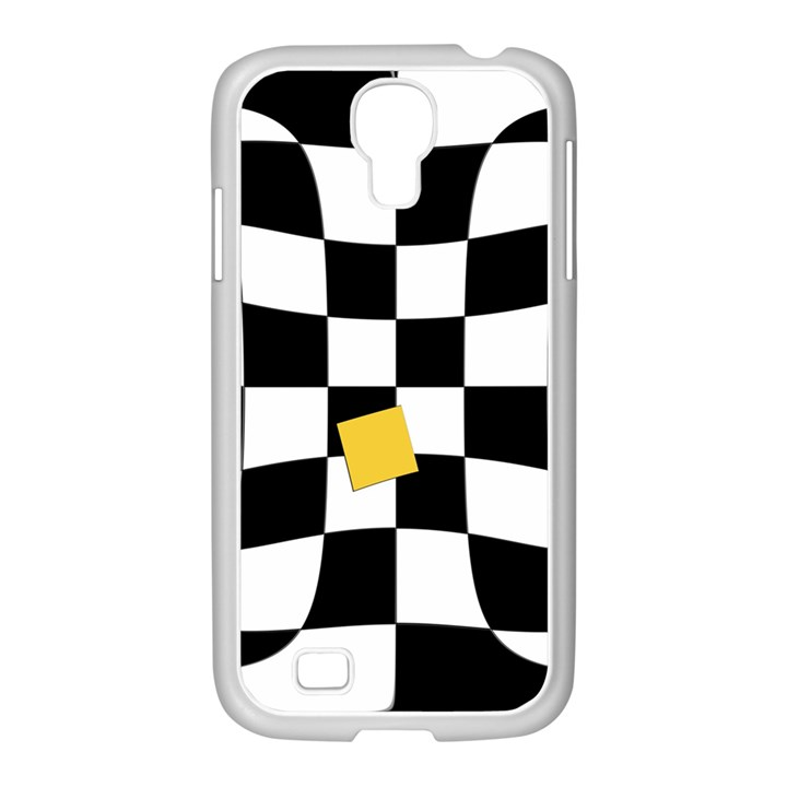 Dropout Yellow Black And White Distorted Check Samsung GALAXY S4 I9500/ I9505 Case (White)
